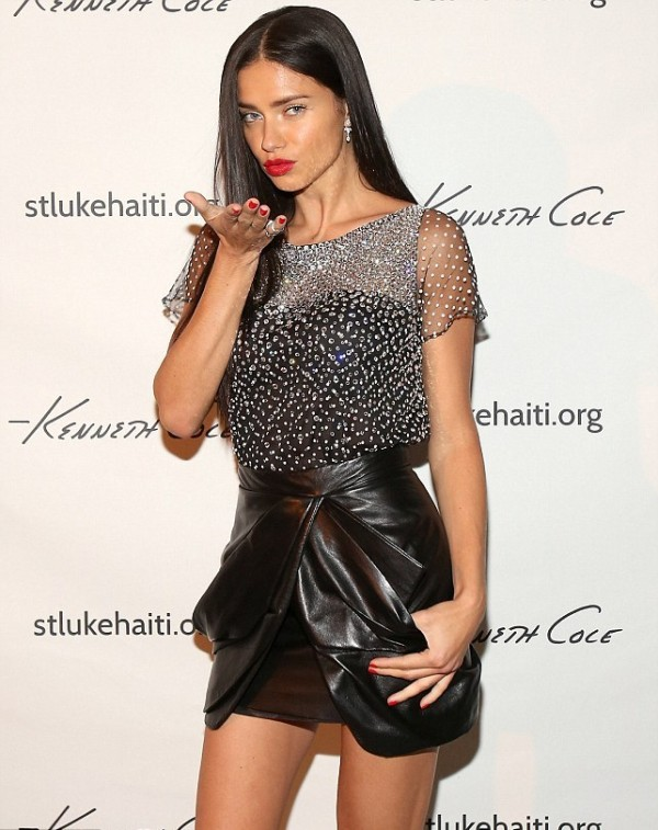 Style Check- Adriana Lima and Her Leather Skirt