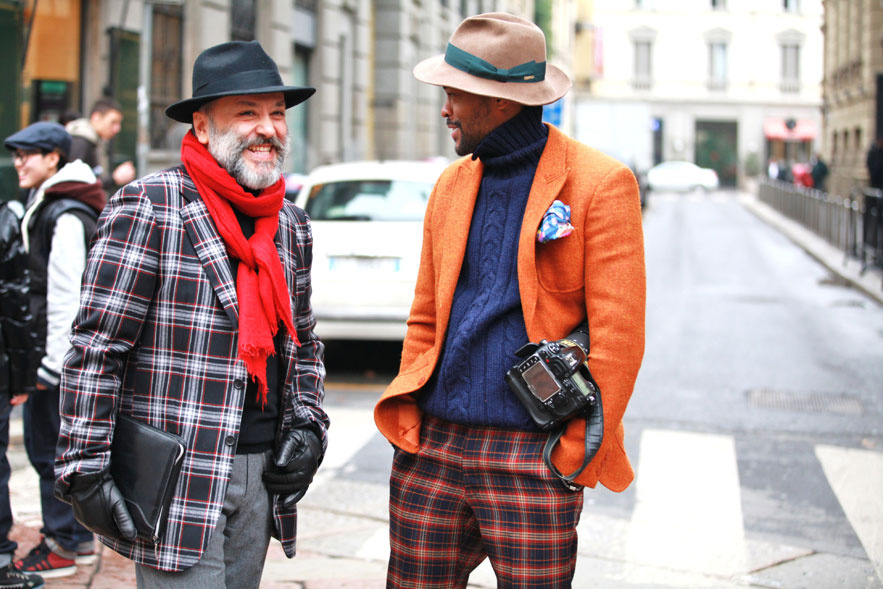 Street Style captured at Milan Fashion week.Plaid jackets and trousers (Courtesy : jasmology.com)