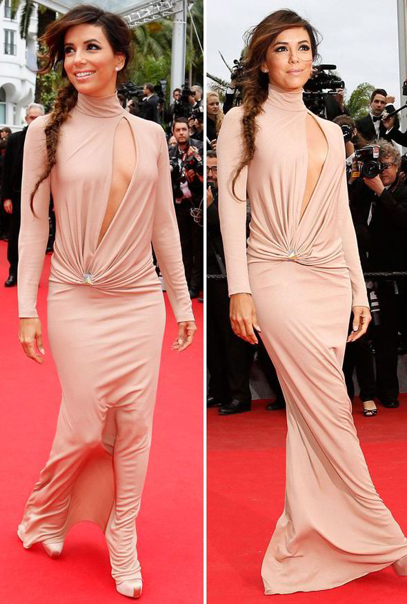 Eva Longoria in a Vionnet Fall 2014 turtleneck dress  ( source : EPA)