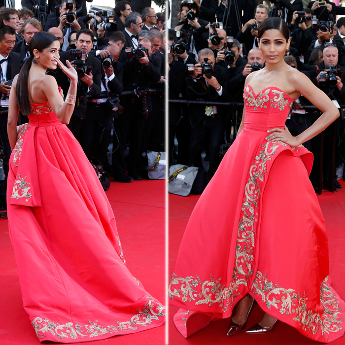 Frieda Pinto in a Oscar de la Renta ( Source : Reuters)