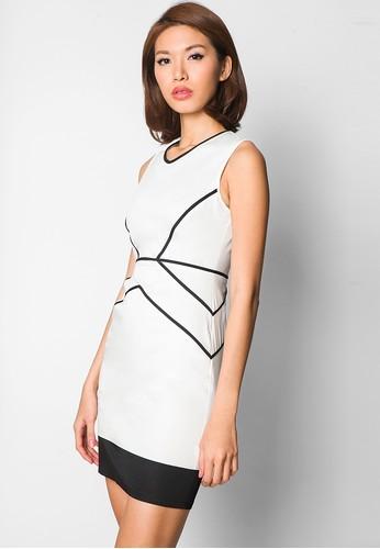 Geo Piping sheath dress - Ezra by Zalora