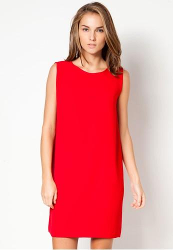 Mango Flowy red shift dress