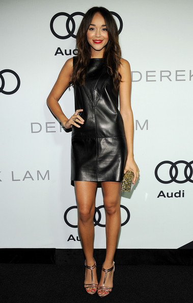 Ashley Madekwe wore a leather shift dress by Derek Lam to the  Audi 2012 Emmy Awards Party in LA.