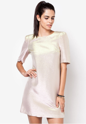 river island metallic shift dress