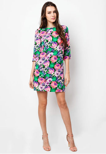 river island.green floral print shift dress