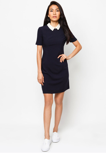 Navy collar shift dress (River Island via Zalora)