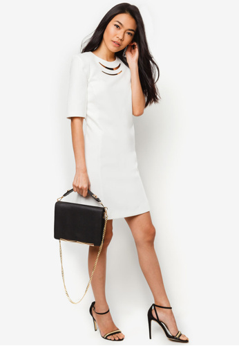 cream metal trim shift dres by river island